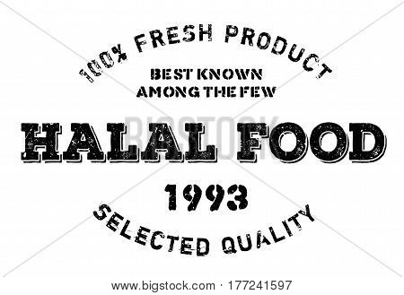 Halal food stamp. Grunge design with dust scratches. Effects can be easily removed for a clean, crisp look. Color is easily changed.