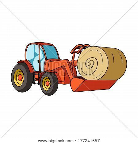 Orange tractor with a ladle transporting hay bale. Agricultural vehicles.Agricultural Machinery single icon in cartoon style vector symbol stock web illustration.