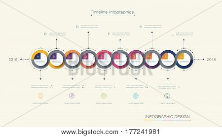Vector infographics timeline design template with 3D paper label integrated circles background. Can be used for content, business, process infographics, diagram chart, digital network, flowchart, process diagram, time line