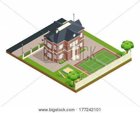 Suburb house isometric composition with backyard lawn children playground and tennis court vector illustration