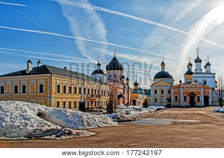 monastery of the ascension of David Deserts in the Chekhov district of Russia, historical and cultural monuments of history in clear, Sunny weather with light cloud