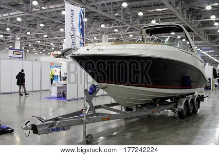 MOSCOW - MARCH 09 2017: Boat Bauliner 842 Cuddy for 10 International boat show in Moscow. Russia.