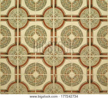 Closeup of Wall tiled with colorful geometrical patterned ceramic tiles