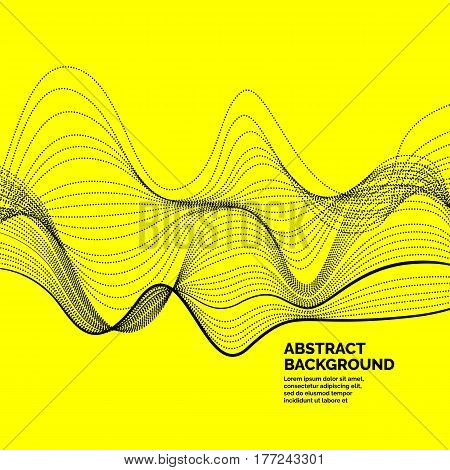 Abstract background with a dynamic waves and particles. Vector illustration.