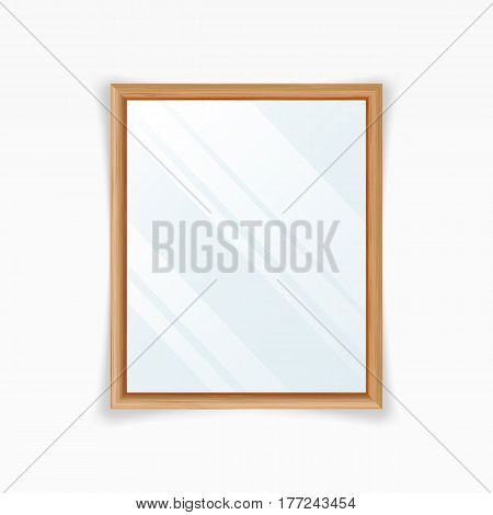 Realistic Mirrors Vector. Decoration Mirror With Reflection Interior Decoration. Wood Frame