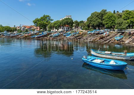 AHTOPOL, BULGARIA - JUNE 30, 2013: Panorama of port of town of Ahtopol,  Burgas Region, Bulgaria