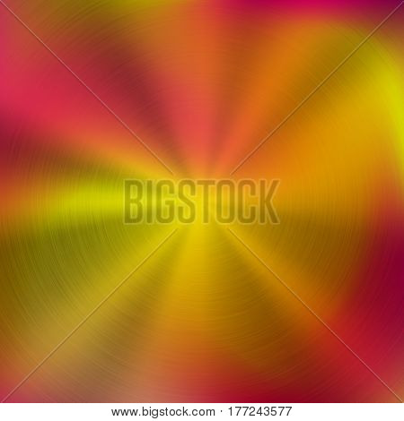 Metal abstract red colorful gradient technology background with circular polished, brushed concentric texture, chrome, silver, steel, aluminum for design concepts, wallpapers. Vector illustration.