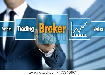 Broker touchscreen is operated by businessman picture