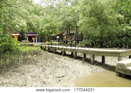 Shrine Or Spirit House For People Respect And Praying At Golden Mangrove Field Thai Name Called Tung