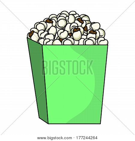 Popcorn in a blue box. Food for an amusement park and a movie trip.Amusement park single icon in cartoon style vector symbol stock web illustration.