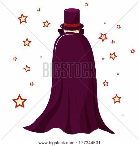 Magician illusionist in a purple robe is covered. Mysterious look. Only the eyes are visible. Around the magic stars. Isolated
