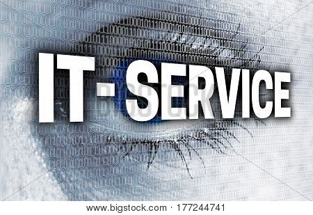 IT service eye with matrix looks at viewer concept.