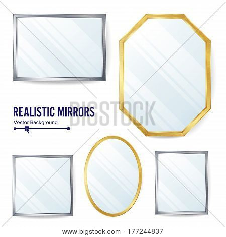 Realistic Mirrors Set Vector. Decoration Mirror With Reflection. Interior Decoration. Metalic