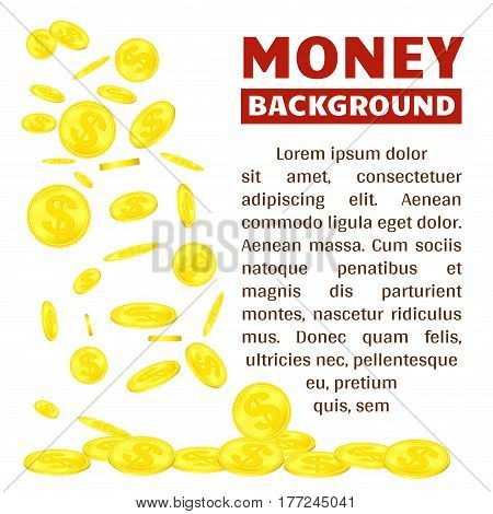 Falling money, flying gold coins, dropping golden rain concept modern isolated on white background. Bank or casino web banner