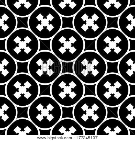 Vector monochrome texture, repeat minimalist seamless pattern. Abstract dark geometric background with staggered crosses and rounded lattice. Design for prints, decor, textile, furniture, wrapping, fabric, cloth