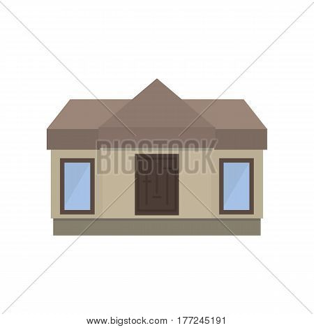 Modern one-storey house in a flat style. Front view. Vector illustration.
