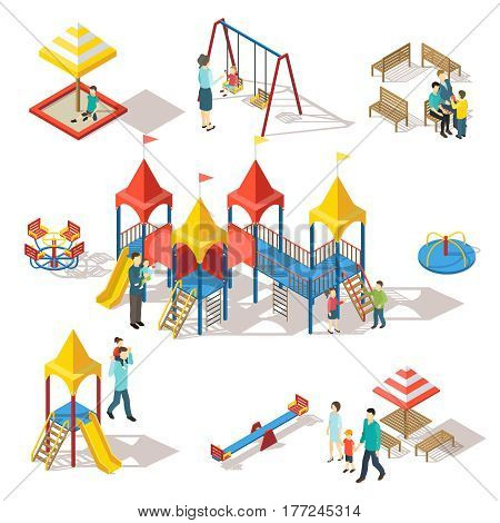 Colorful isometric playground elements set with people swing bench sandbox slide and carousel isolated vector illustration