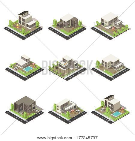 Isometric cottages and mansions set with suburban buildings of different architecture green trees pools and cars isolated vector illustration