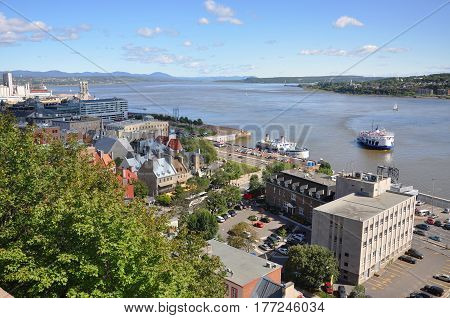 Quebec Lower City and St. Lawrence River in summer, Quebec, Canada.