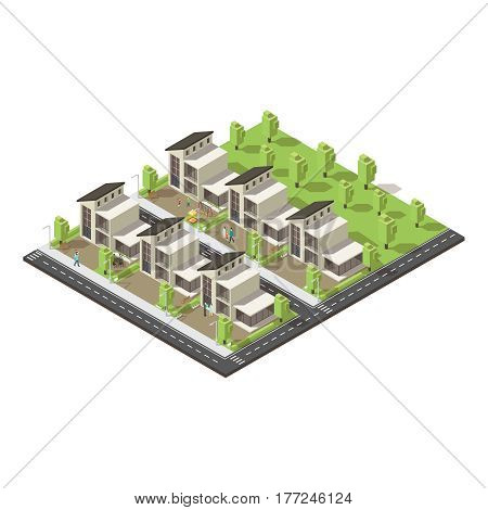 Isometric complex suburban buildings concept of similar construction and architecture with people and green park vector illustration