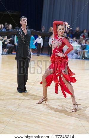 Minsk Belarus-February 18 2017: Couple of Karatkevich Vladimir and Kravchenko Nataliya Performs Youth Latin-American Program on WDSF Minsk Open Dance Festival-2017 Championship in February 18 2017 in Minsk Belarus