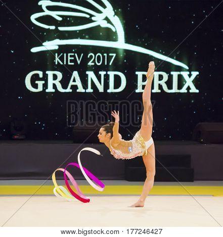 KYIV, UKRAINE - MARCH 17, 2017: Victoria Filanovsky (Israel) performs at Deriugina Cup Grand Prix (Rhythmic Gymnastics International Tournament)