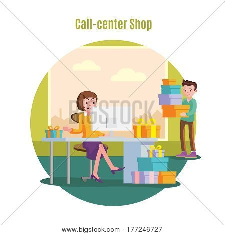 Shop helpline service concept with female operator taking orders and consulting people vector illustration