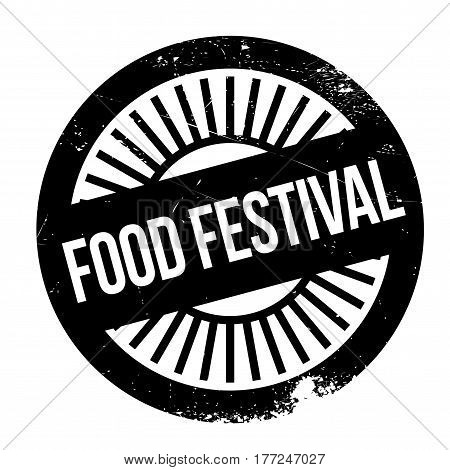 Food festival stamp. Grunge design with dust scratches. Effects can be easily removed for a clean, crisp look. Color is easily changed.