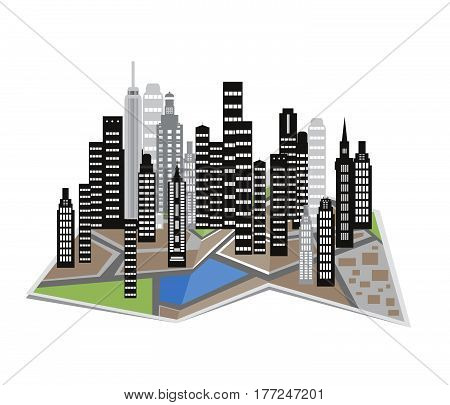 City and town illustration.Vector icons of buildings.Modern urban quarter with skyscrapers offices residential buildings.Modern City View. Cityscape with office and residential buildings trees road..