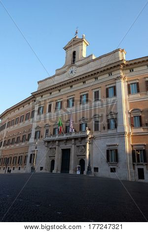 ROME, ITALY - SEPTEMBER 02: Palazzo Montecitorio, seat of the Italian Chamber of Deputies in Rome, Italy on September 02, 2016.