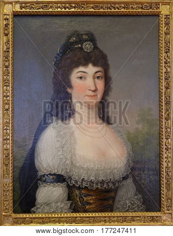 ZAGREB, CROATIA - FEBRUARY 17: Portrait of Regina Draskovic, oil on canvas, painted by an unknown artist, exhibited in Museum of Arts and Crafts, Zagreb, on February 17, 2015.