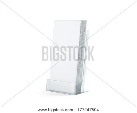 Blank white flyers stack mock up in glass plastic holder 3d rendering. Dl fliers mockups stand in the acrylic box. Brochure template holding in transparent plexiglass pocket. Booklets in plastic tray
