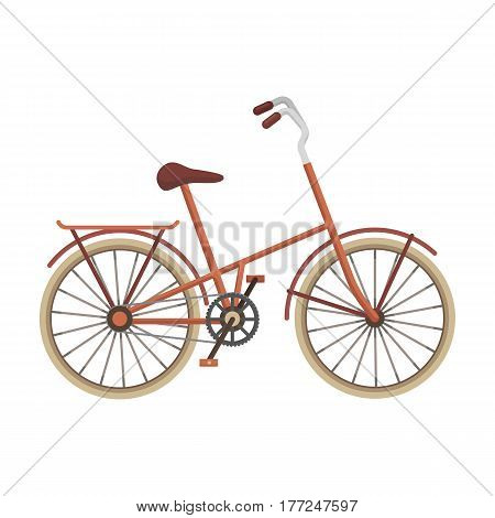 Children s bicycle with low frame and luggage compartment flaps.Different Bicycle single icon in cartoon style vector symbol stock web illustration.