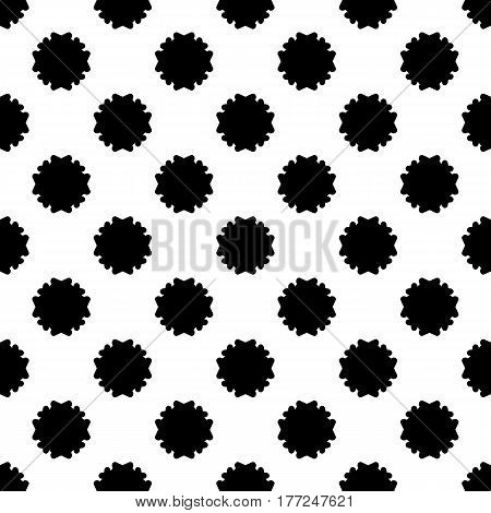 Vector seamless pattern, simple floral geometric texture, black staggered flower silhouettes on white background. Abstract backdrop, repeat tiles. Old style design element for prints, decoration, textile, fabric. clothes