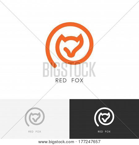 Red fox logo - outline vixen symbol. Wild animal icon.