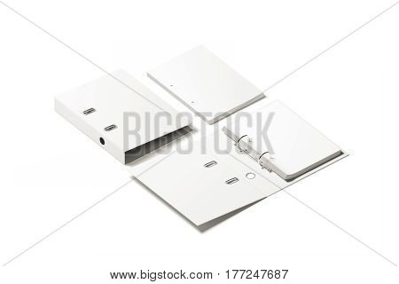 Blank white ring binder folder design mockup 3d rendering. Self-binder mock up with stack of a4 paper. Office supply cardboard folder branding presentation. Desk lever arch file cover template.