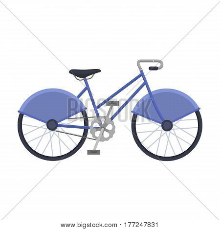 Walking bicycle with large shields and curves driving. Economical transport.Different Bicycle single icon in cartoon style vector symbol stock web illustration.