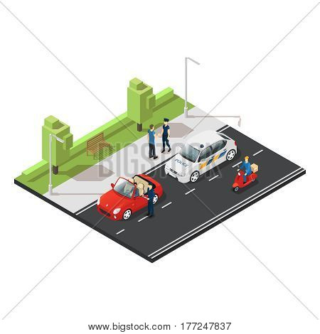 Colorful isometric traffic concept with police officers stopping violator on red cabriolet and postman riding scooter vector illustration