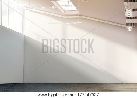 Blank white large wall mockup in sunny modern gallery 3d rendering. Clear big loft mock up in museum with contemporary art exhibition. Huge hall interior with plain surface for exposition template.