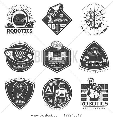 Vintage future technology labels set with robotic cybernetic futuristic and artificial intelligence elements isolated vector illustration