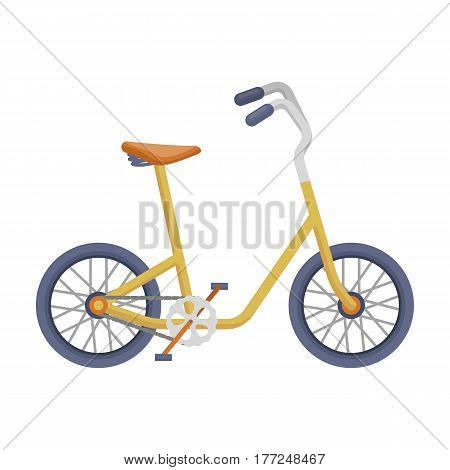 Little yellow children s bicycle. Bicycles for children and a healthy lifestyle.Different Bicycle single icon in cartoon style vector symbol stock web illustration.