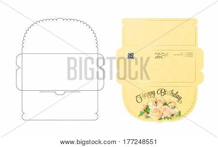 Envelope template with flap design. Easy to fold. Ready to print colorful envelope for money. May be used for thank you notes, wedding, gift tag or save the date cards. Die cut envelope layout.