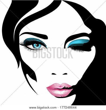 Woman's face. Vector illustration. Realistic pink lips ann blue eyes with chic eyelashes for your design