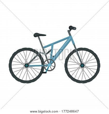 Mountain bike. Cycling downhill from the mountains.Different Bicycle single icon in cartoon style vector symbol stock web illustration.