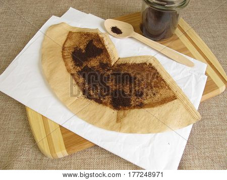 Dried used coffee grounds waste product for peeling, cleaning agent or fertilizer