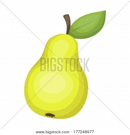 Pear with a leaf. Fruit of labor of a garden worker.Farm and gardening single icon in cartoon style vector symbol stock web illustration.