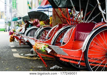 Pahang, Malaysia. Vintage Trishaw stop beside road for service traveller