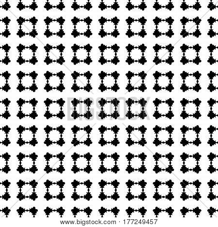 Monochrome seamless pattern, vector geometric texture, black & white abstract repeat background with rounded geometrical shapes, flat floral figures. Simple design for prints, decoration, embossing, fabric, cloth, textile