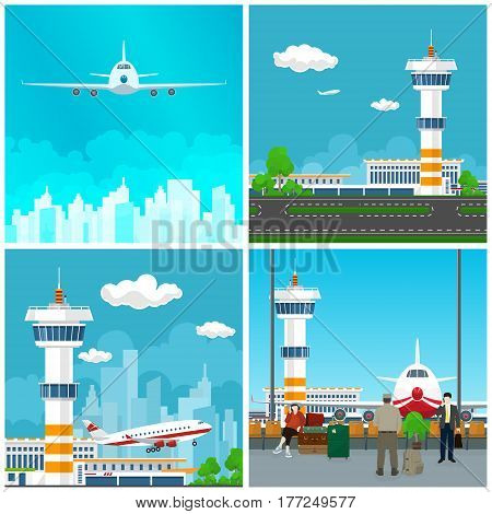 Airport Terminal ,Waiting Room with People ,Runway at the Airport with Control Tower ,Airplane Takes Off, Plane in the Sky ,Travel and Tourism Concept ,Vector Illustration