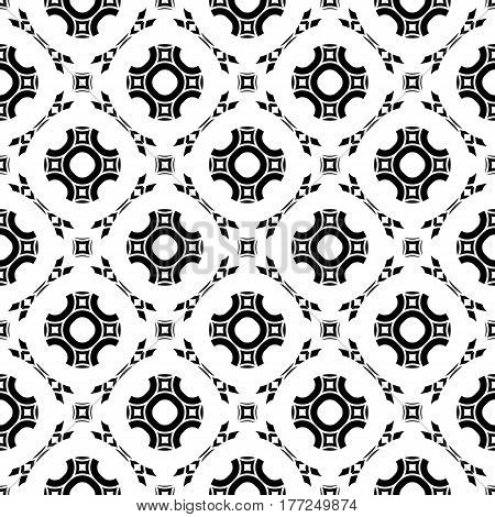 Black and white geometric background. Stylish design in arabian style, traditional motif. Vector monochrome seamless pattern. Round lattice, floral figures, repeat tiles. Texture for decoration, textile, fabric, cloth, digital, web